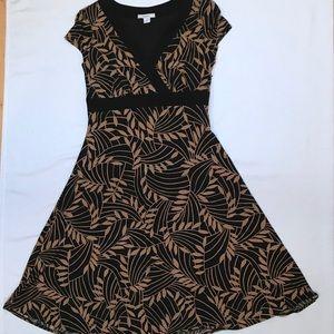 Leaf patterned mock wrap dress